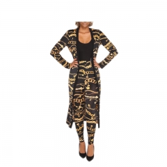 Women's Print Outerwear Pants Suit 2 Piece Sets Office OL Sexy High Quality Tops K180004 golden l