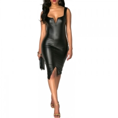 Women's V-neck Leather Pencil Dress Sexy Party Middle Skirt One-step High Quality K180005 black l