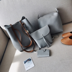 Graceful Solid Color Design Fashion Women Luxury Handbag PU Leather Genuine Bags gray 4pcs