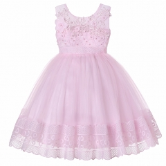 Fashion Girls Summer  Dress  Flower Bow Chiffon Dress Children's  banquet  Dress pink 120cm