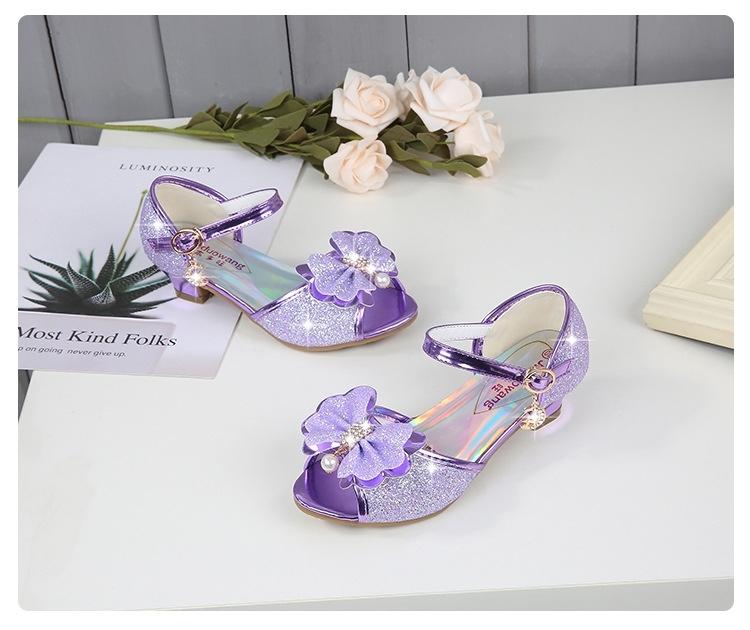 e0ad1245a summer fashion Girls Sandals Cute Butterfly Pearl High Heels Bling ...