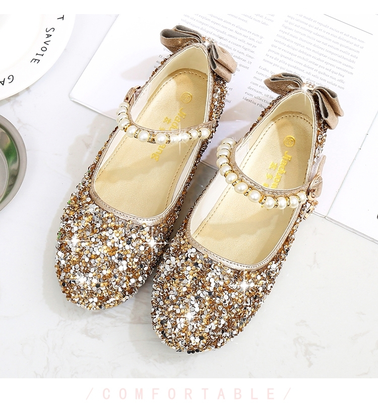 2018 new children s and girls  pearl string bow sequined high-heeled  fashion sandals party shoes gold 26  Product No  725209. Item specifics   Brand  11d4dba63ea6