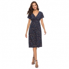 Swintager Cross-Border Deep V-collar Chiffon Printed Dresses Beach Dresses navy blue with small flowers xxl