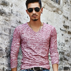 Men's autumn long-sleeved pure-color leisure trendy brand T-shirt body-building undercoat Red XXL