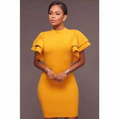 African Woman Clothes Casual Dress yellow xl