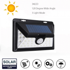 Enhanced Edition 34 led 40 led new outdoor solar body induction wall lamp 34led black solar energy