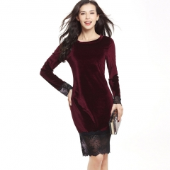 Sexy lace stitching swan gold velvet strap dress bag hip pencil skirt Long sleeve wine red s