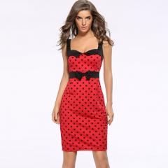 New sleeveless bag hips slim dress printed dot pencil skirt dress red s