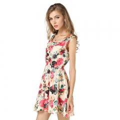 Women's Explosives Underwear Skirt Sleeveless Print Chiffon Dress Flower Tank Dress Beige s