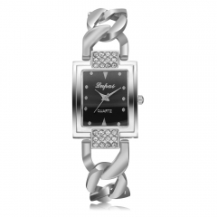 Fashion watch wish fashion bracelet bracelet ladies quartz watch Silver belt black face