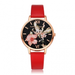 PU leather strap black dial fashion casual fashion watch ladies simple new female student watch red