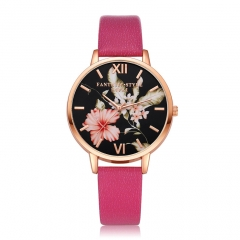 PU leather strap black dial fashion casual fashion watch ladies simple new female student watch Rose red