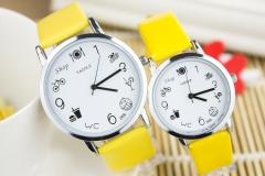 Quality student table cute children's watch cartoon popular boy model girl quartz watch yellow (large)