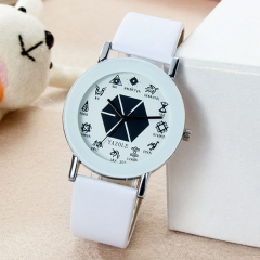 Male and female students table couple quartz watch men and women watch watch small gift gift White (large)