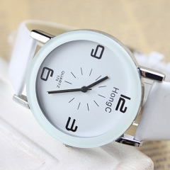 New popular sports student watch belt couple men and women brand watch White (39MM large)