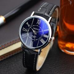 High quality men's watch business simple and stylish men's quartz watch belt black belt black plate