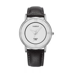 High quality leather belt watch Business fashion quartz watch men and women couple table White plate black belt (male)