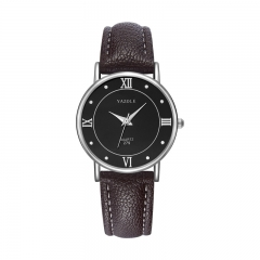 High quality leather belt watch Business fashion quartz watch men and women couple table Black plate brown belt (female)