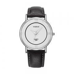 Business style fashion casual simple neutral wild pointer quartz watch men's watch watch men White dial black strap