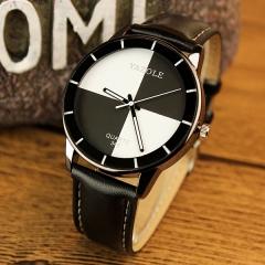 Korean women's watch fashion quartz watch student ladies table girl watches Black and white surface black belt