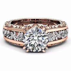 New Ring Rose Gold Separate Ring Topaz Champagne Jewelry white one piece