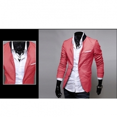 Europe and the United States new men's thin section West decoration body suit small suit tide jacket watermelon red XXL