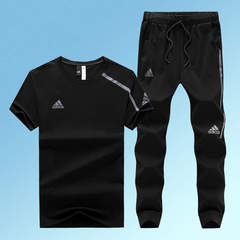 Adidas sportswear suit summer new men's short-sleeved trousers casual wear thin two-piece black l