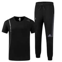 Adidas summer pants men's casual pants loose sweatpants trend beam pants set black l