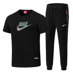 Nike breathable cotton summer suit men's outdoor short-sleeved trousers sportswear black l