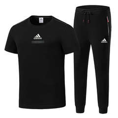 Adidas men's sports suit summer thin section casual trend short-sleeved two-piece trousers black l