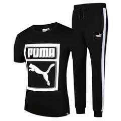 Puma short-sleeved men's round neck trend 2019 new men's summer sports cotton men's suit black l