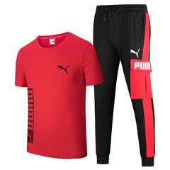 Puma summer short-sleeved sportswear suit men's cotton round neck T-shirt casual fitness sportswear red&black xl