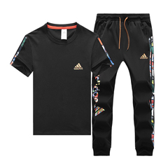 2019 summer classic short-sleeved trousers suit male Adi casual sportswear two-piece T-shirt black l