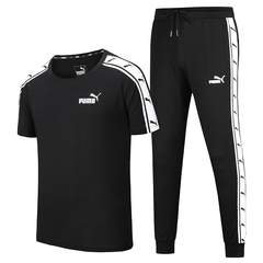 PUMA sports suit men's summer short-sleeved youth cotton T-shirt casual trousers couple two-piece black m