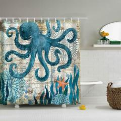 Dayroom Shower Curtain With Hooks - Octopus 180*180 Cm green 180*180