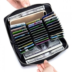 Women Fashion Large Capacity Leather Zipper Wallet 36 Card Slots Party Handbags Antimagnetic Purse coffee one size