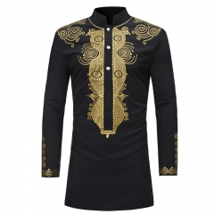 1PCS Fashion Stand Collared Long Sleeve Shirt Africa Style Men's Spring Summer Autumn Tops black m