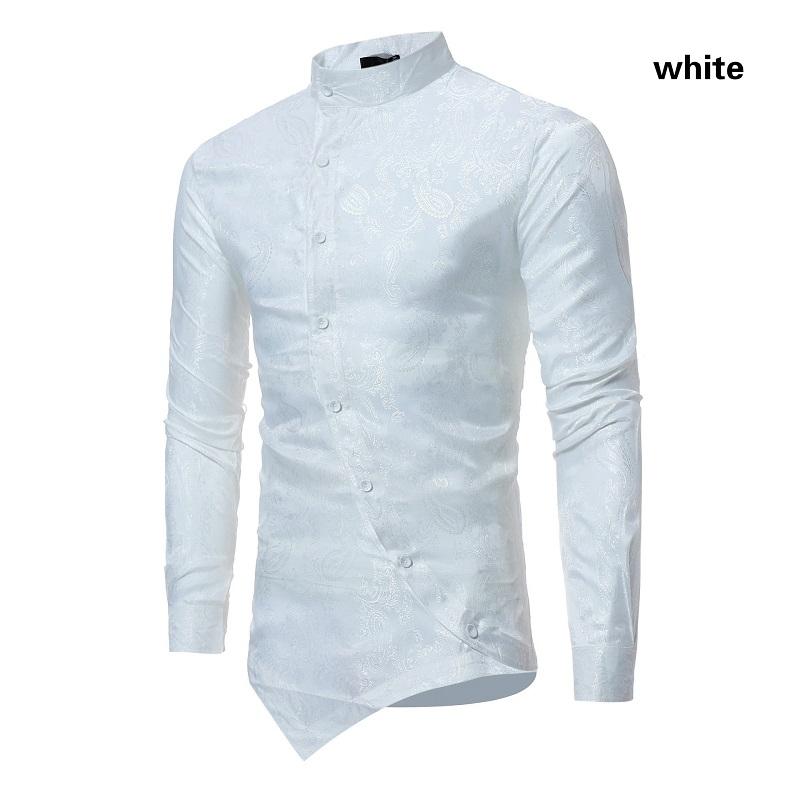 YUNY Mens Solid Turn-Down Collar Long Sleeve Business Classic Shirt Grey XS