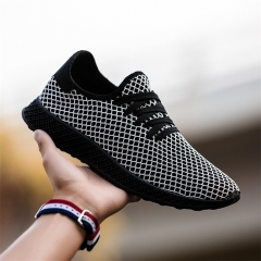 Fashion Men's Sports Running Shoes Flying Woven Mesh Breathable Casual Sneakers black 39