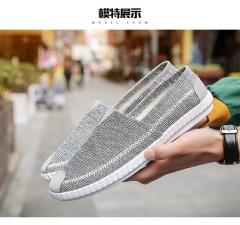 Fashion Men Breathable and Recreational Low Upper Shoes Board Shoes Men Cloth Shoes Men Canvas Shoes drak grey 44