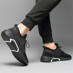 Fashion Casual Men's Sport Shoes Hot Men Breathable Trendy Mesh Sneakers Running Shoes black with white 39