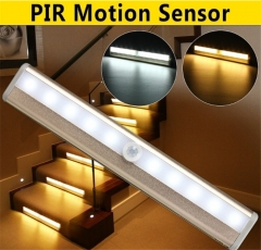 10 LED Battery Powered PIR Motion Sensor Lamp Closet Cabinet Wardrobe Stairway Wireless Night Light white light 18cm 0.8W