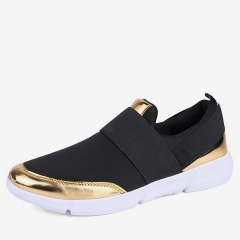 Women Slip On Loafers Ladies Casual Comfortable Flats Breathable Stretch Cloth Shoe Fashion Sneakers black 35