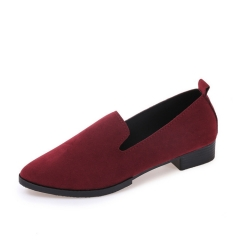 2019 New Arrival Women Solid Color Shoes Thick Heel Formal Shoes Office Work Shoes Fashion Flats wine red 35
