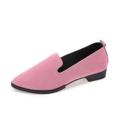 2019 New Arrival Women Solid Color Shoes Thick Heel Formal Shoes Office Work Shoes Fashion Flats pink 40