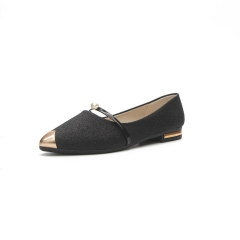 Fashion Women Shallow Mouth Wild Pointed Shoes Ladies Solid Color Shoes Female PU leather Shoe Flats black 40