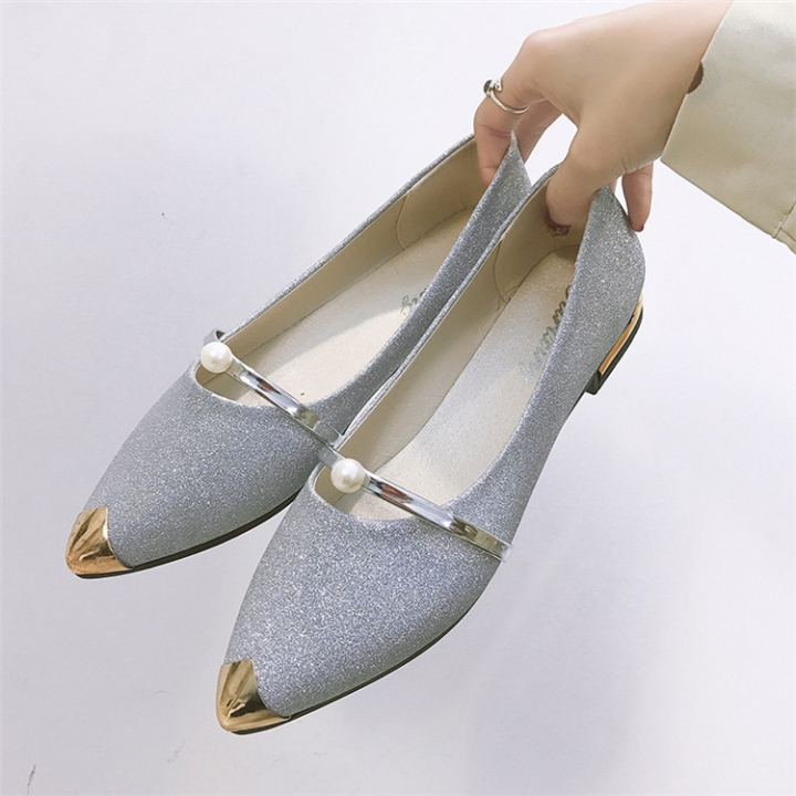 Fashion Women Shallow Mouth Wild Pointed Shoes Ladies Solid Color Shoes Female PU leather Shoe Flats silver 35