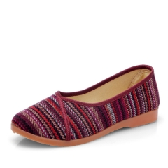 Flax Linen Women Flat Shoes Old Beijing Cloth Shoes Ladies Anti-slip Flats Summer Breathable Shoes red 40