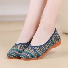 Flax Linen Women Flat Shoes Old Beijing Cloth Shoes Ladies Anti-slip Flats Summer Breathable Shoes blue 35