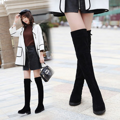Hot Sale Fashion 2019 Women Black Long Elastic Over-knee Boots Sexy Ladies Female Flat High Boots black 35